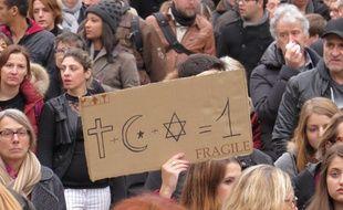 Toulouse, le 10 janvier 2015. Manifestation des Toulousains après les attentats, notamment de Charlie Hebdo.