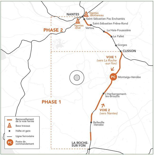 Carte des travaux 2019 sur la ligne Nantes-Clisson-La Roche-sur-Yon.