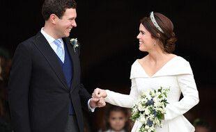 Les jeunes parents Jack Brooksbank et la princesse Eugenie le jour de leur mariage