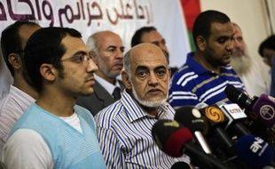 L'un des dirigeants de la confrérie islamiste Magdy Karkar lors d'une conférence de presse le 29 août 2013 au Caire
