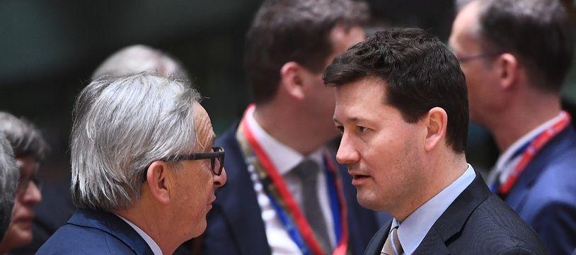 Jean-Claude Juncker et Martin Selmayr, à Bruxelles, le 22 mars 2018.