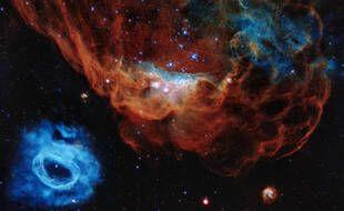 Tempête de naissance d'étoiles, dans le grand nuage de Magellan, capture du télescope géant Hubble.