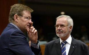 Le ministre belge des Finances Johan Van Overtveldt (g) discute avec le président de la Banque européenne d'investissement Werner Hoyer, à Bruxelles le 27 janvier 2015