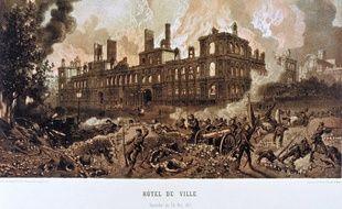 L'Hôtel de ville en feu durant la Commune de Paris, le 24 mai 1871.