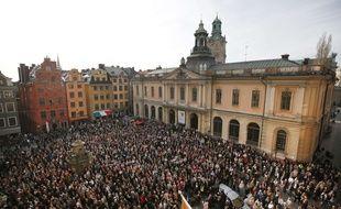 Manifestation devant l'Académie suédoise des Nobel à Stockholm le 19 avril 2018 en soutien à Sara Danius