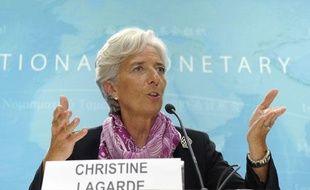 La directrice du FMI, Christine Lagarde, lors d'une conférence de presse à Washington le 6 juillet 2011.