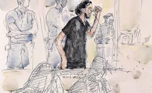 Dessin de Salah Abdeslam au premier jour du procès des attentats du 13-Novembre, le 8 septembre 2021.