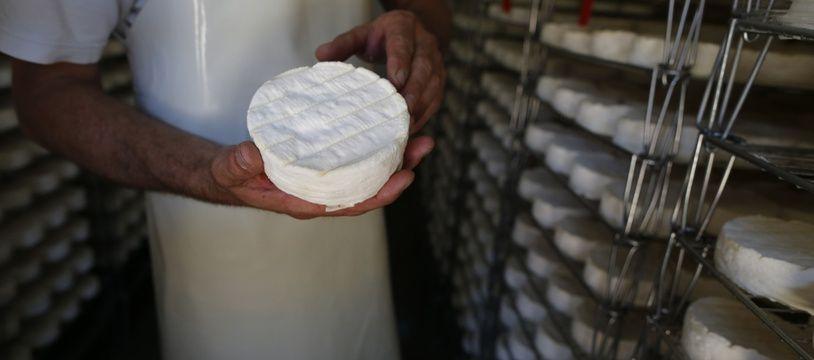 Un fromager dans son usine de fabrication de camembert, à Camembert en Normandie, le 24 août 2016.