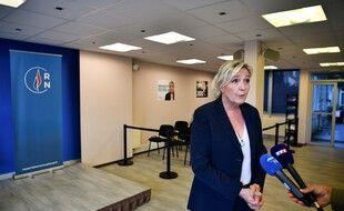 Marine Le Pen lors d'une conférence de presse dans les locaux du Rassemblement National à Nanterre, le  28 juin 2020.