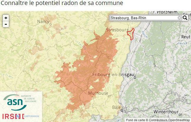Capture écran de la carte sur la présence de radon selon les communes Par l'Institut de radioprotectioni et de sécurité nucléaire (IRSN)