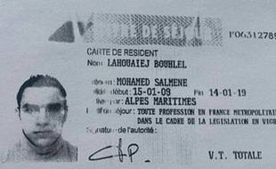Copie du permis de séjour de Mohamed Lahouaiej-Bouhlel, obtenue le 15 juillet 2015 auprès de la police française