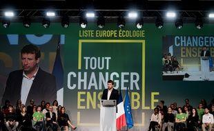 Yannick Jadot lors d'un meeting d'Europe écologie Les Verts en avril 2019.