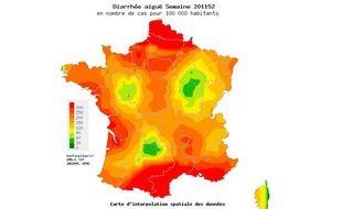Capture d'écran de la carte des cas de diarrhée aiguë constatés dans la  semaine du 26 décembre 2011 au 1er janvier 2012 par le réseau Sentinelles.
