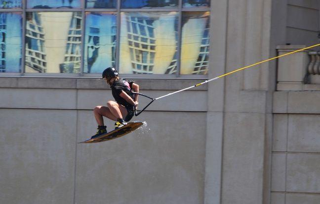 Les épreuves de wake-board ont eu lieu sur le Lez, devant l'hôtel de région.