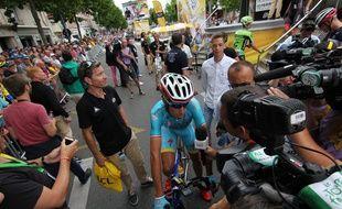 Vincenzo Nibali, vainqueur l'an dernier, a été très sollicité par les médias.