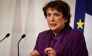 Roselyne Bachelot, ministre de la culture, le 22 octobre lors d'une conférence de presse sur la situation sanitaire en France