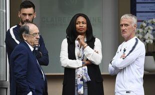 Hugo Lloris, Noël Le Graët, Laura Flessel et Didier Deschamps avant le départ de l'équipe de France en Russie, le 5 juin 2018 à Clairefontaine.