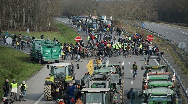 Parmi la foule de manifestants ce 27 février, de nombreux tracteurs, sur les quatre voies coupées à la circulation. – JS Evrard/AFP