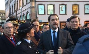 Le ministre de l'Intérieur Christophe Castaner aux côtés de Roland Ries (à gauche) et d'Alain Fontanel (à droite).