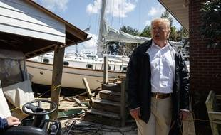 Donald Trump en visite en Caroline du Nord, le 19 septembre 2018, pour évaluer les dégâts de l'ouragan Florence.
