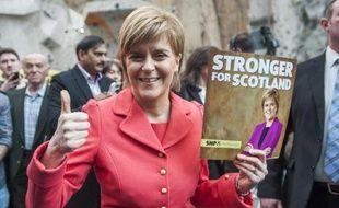 La chef du parti nationaliste SNP Nicola Sturgeon à Edimbourg le 20 avril 2015