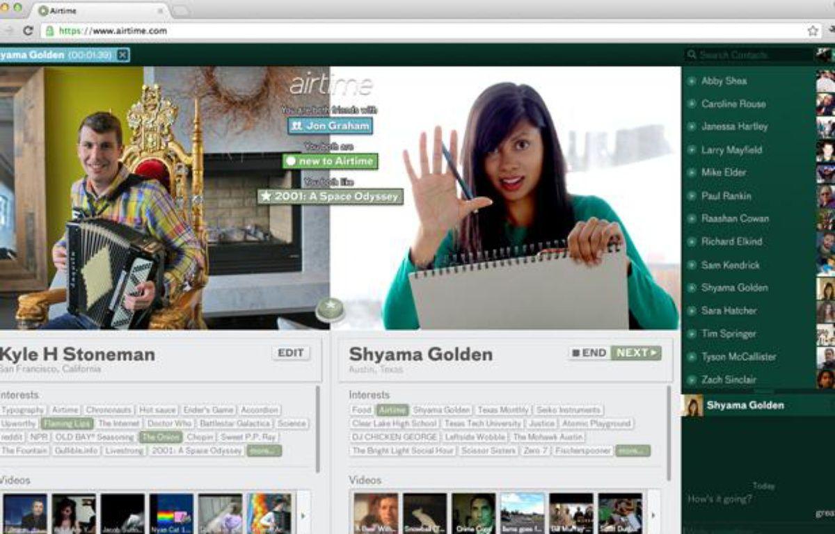 Airtime.com, le site de conversation vidéo via Facebook lancé en juin 2012 par Sean Parker et Shawn Fanning, les créateurs de Napster. – AIRTIME