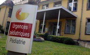 Vue de l'entrée du service de pédiatrie de l'hôpital de Mulhouse, où une fillette de 5 ans est décédée dans la nuit du 3 au 4 août 2009.