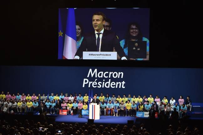 Emmanuel Macron en meeting à Nantes.