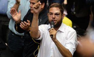 Le député d'opposition Juan Requesens, ici le 5 avril 2017, a été arrêté après la tentative d'attentat contre Nicolas Maduro.