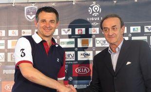 Le Haillan, le 10 juin 2014 - Willy Sagnol, nouvel entraîneur de Bordeaux, présenté par Jean-Louis Triaud