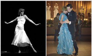 A gauche, Lady Diana, à droite, Emma Corrin et Josh O'Connor dans la série « The Crown ».