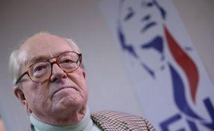 Le  23 mars 2014 à Nanterre, Jean-Marie Le Pen.  AFP PHOTO/KENZO TRIBOUILLARD