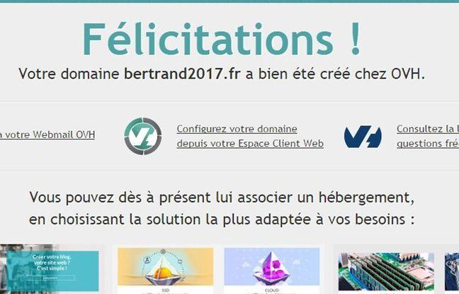 Capture du site bertrand2017.fr