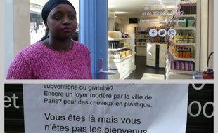 Anne-Marie Mendy devant sa boutique du 2e arrondissement où a été placardée une affiche raciste