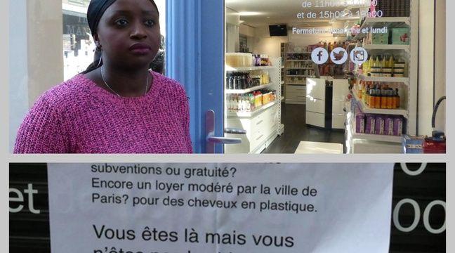 Anne-Marie Mendy devant sa boutique du 2e arrondissement où a été placardée une affiche raciste – R.LESCURIEUX