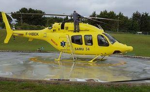 L'hélicoptère du Samu a transporté le garçonnet jusqu'au CHRU de Montpellier