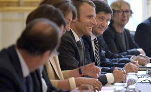 Emmanuel Macron lors de son premier Conseil des ministres le 27 août 2014 à l'Elysée à Paris