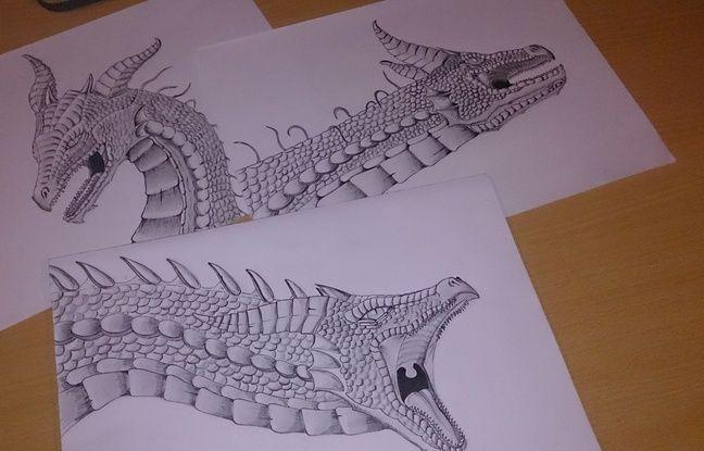Exemples de croquis du dragon réalisés par Yann Hoccry.