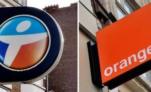 Les enseignes des opérateurs téléphoniques Orange et Bouygues Telecom