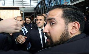 Emmanuel Macron au salon de l'Agriculture le 24 février 2018, avec Alexandre Benalla.