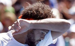 Jo-Wilfried Tsonga lors du match contre Stan Wawrinka à l'Open d'Australie le 24 janvier 2017.
