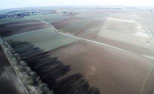 Le champ de bataille de 1917, entre Riencourt et Bullecourt, vue du ciel.