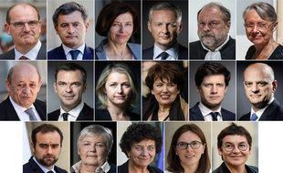 Les 16 ministres du gouvernement de Jean Castex, dont la composition a été annoncée le 6 juillet 2020.