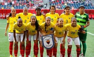 L'équipe de football féminine d'Equateur lors de la Coupe du monde au Canada.