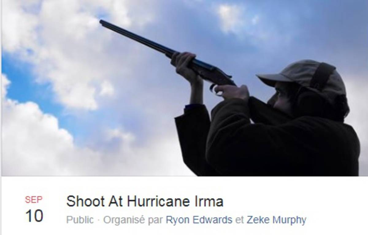 Le groupe Facebook Shoot At Hurricane Irma – FB/Capture d'écran