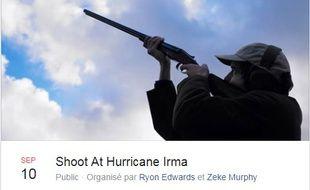 Le groupe Facebook Shoot At Hurricane Irma