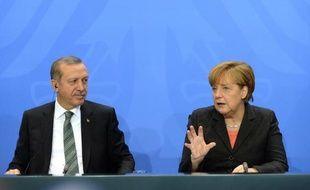La chancelière allemande Angela Merkel et le président turc Recep Tayyip Erdogan au Conseil de sécurité de l'Onu.