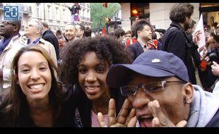 Réactions à l'élection de François Hollande rue de Solférino le, 6 mai 2012