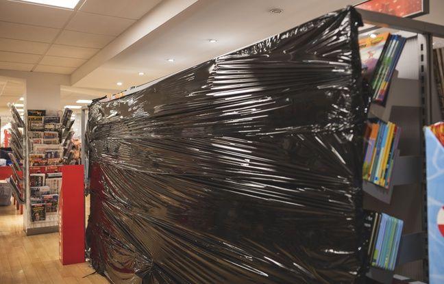 Un rayon livre fermé dans un supermarché de Nice, fin octobre 2020.