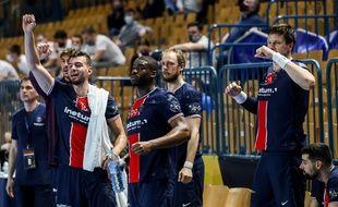 Des joueurs du Paris Saint-Germain handball, lors d'un match de Ligue des champions le 1er avril 2021 (illustration).